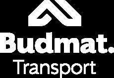 Logo Budmat Transport Białe - bez pola ochronnego